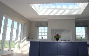 Kitchen with timber windows